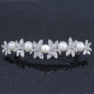 Bridal Wedding Prom Silver Tone Simulated Pearl Diamante 'Butterfly' Barrette