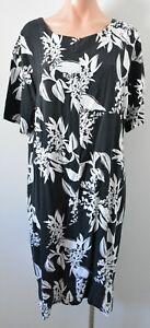 W Lane Dress Womens Size 14 Black White Floral Tunic Short Sleeve