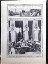 WW1 sa majesté navire Crystal Palace Egypte Nombril Marines ANTIQUE PRINT 1915