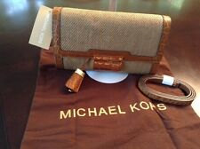 Michael Kors Crocodile-Embossed Leather Trimmed Canvas Clutch Color Luggage