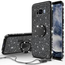 Samsung Galaxy S8 Plus Case, Cute Glitter Bling Diamond Rhinestone Bumper Black