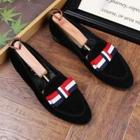 Men Suede Leather Loafers Moccasin Driving Bowtie Slip on Belgian Dress Shoes