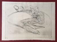 Pipi Paloma, Figur mit Taube, Radierung, 1989, handsigniert und datiert