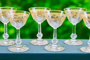 SET OF 8 ANTIQUE ST SAINT LOUIS GILDED  LEAVES CORDIAL SHERRY GLASSES