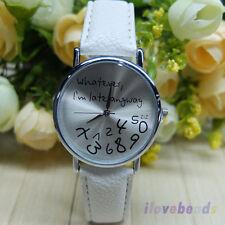 "Fashion Women ""Whatever I'm late anyway"" Wristwatch Men Leather Quartz Watch"