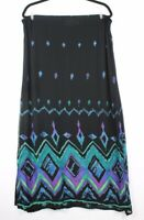 Chicos's Design Women's 100% Rayon Long Pencil Skirt Black Geometric Print Sz 1