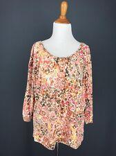 Dolman Sleeve Top L Pink Brown Orange Mosaic Print  Rhinestones LARK LANE Knit