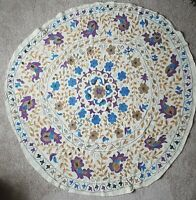 "Vintage Hand Embroidered Appliqué Beige Tablecloth 58"" Round Purple Gold Blue"