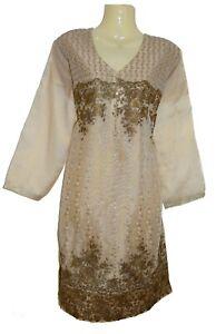 Organza Gold Embroider Designer Dress Kurta Kurt Kameez Top Suit Bollywood Asian