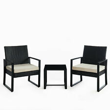 3pc Wicker Rattan Patio Outdoor Furniture Conversation Sofa Bistro Set Garden
