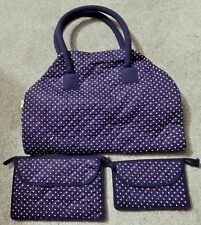 RARE BLUE & WHITE POLKADOT NARAYA TOTE BAG W/2 SEPARATE POCKETBOOKS BRAND NEW