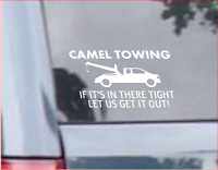 Camel Towing VINYL DECAL Funny Humor Rude WINDOW STICKER Toe CAR Truck 4x6 INCH