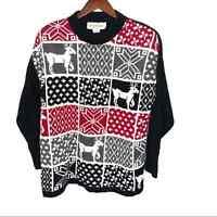 VINTAGE fair isle print ugly Christmas sweater nordic reindeer holiday large