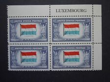 """1943 #912 5c Luxemburg Flag Country Name Block MNH OG """"Includes New Mount"""""""
