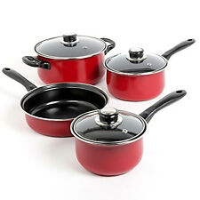 Cooking Pots and Pans Kitchen, Carbon Steel Cookware Set 7 Piece Non Stick Red