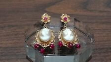 Antique 14k Gold Cameo Ruby Earrings