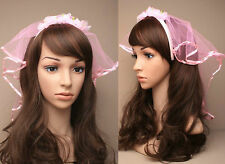 Bride To Be Pink Fancy Dress Hen Night Wedding Veil Aliceband Headband