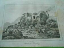 Gravure 1840  Turquie Turkey Chateau de Brousse