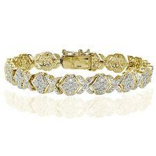 1.00ct Natural Diamond Miracle Set XOXO Tennis Bracelet in Gold Tone Brass