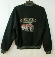 HARLEY DAVIDSON Wool Bomber Jacket Motorcycle Embroidered Patches Mens LARGE L