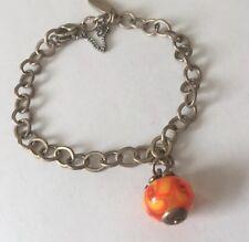 James Avery Sterling Silver Finial Art Glass Sun Orange Charm Bead bracelet