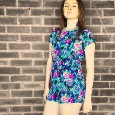Women's Floral Cotton Blend Short Sleeve Jumpsuits & Playsuits