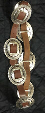 Brighton 1993 Brown Leather Sunflower Concho Belt Large Euc