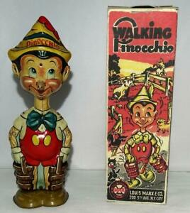 "EX+ DISNEY 1939 ""PINOCCHIO"" MARX TIN WIND-UP TOY+ BUILT-IN KEY+ REPLICA BOX SET!"