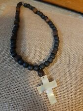 Wooden Beaded Shell Cross Necklace