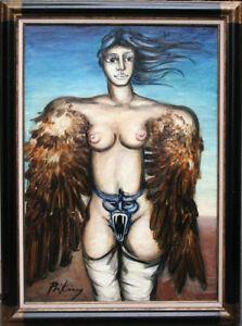 Franz Priking huile sur toile 116 x 89 cm signée en bas à gauche femme ailée