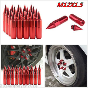 -XN20Pcs Red Spiked Aluminum 60mm Extended Tuner Wheels/Rims Lugs Nuts M12X1.5