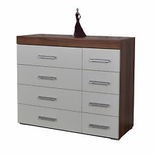 Chest of Drawers 4+4 Drawers 8 Drawer White & Walnut Bedroom Furniture