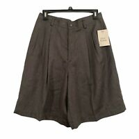 Lizsport Womens size 12 Solid Gray High Rise Vintage Pleated Long Shorts NEW