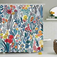 Girly Floral Bohemian Farmhouse Leaves Colorful Waterproof Fabric Shower Curtain