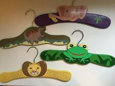 Kidorable Children's Hangers Mixed Lot Four Hand Painted Frog Lion Elephant Vtg