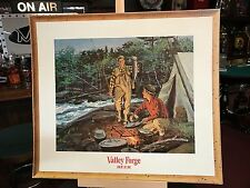 "Valley Forge Beer Ad 22""x25"" Hunting Fishing Theme Cardboard Sign ""Watch Video"""