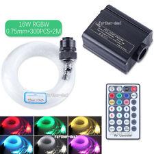 16W RGBW LED Fiber Optic Star Ceiling Light Kit 300Pcs 2M 0.75mm +Crystal+Remote