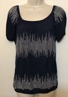 INC Small Shirt Navy Blue & Silver Studded Short Sleeve Scoop Neck Stretch Top