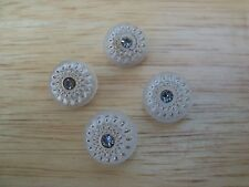 4 VINTAGE FROSTED GLASS RHINESTONE HIGH DOME GOLD LUSTER FLOWER BUTTONS 14mm