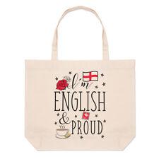 I'M Anglais et Proud Grand Plage Sac Fourre-Tout - Rugby Angleterre Drapeau