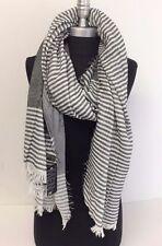 Men's Over size Blanket Scarf Striped Tassel Shawl Wrap Cozy Pashmina, Black