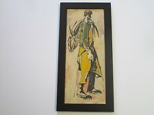 ANTIQUE VINTAGE WPA ERA PAINTING INDUSTRIAL FISHERMAN MID CENTURY EXPRESSIONISM