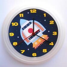 BRAND NEW KIDS WALL CLOCK with SPACESHIP ROCKET SPACE  FREE P&P