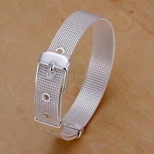 925 Sterling Silver Mesh Belt Bracelet Adjustable + Free Gift Bag