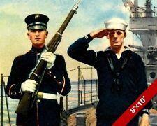 US MARINE SAILOR SALUTE WWI WORLD WAR 1 MILITARY ART PAINTING REAL CANVAS PRINT