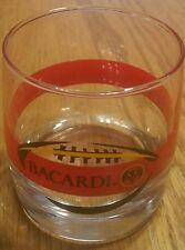 BACARDI Rum Collectible Rocks Glass Tumble Bat logo & Football design Bar