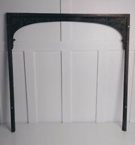 "Antique Orante Bronze? Fireplace Fire Door Frame Surround Lyre Horns Abt 30""X30"""