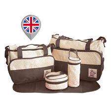 5pcs Baby Nappy Changing Bag Set Diaper Bags Handbag Mommy Bag Brown V01