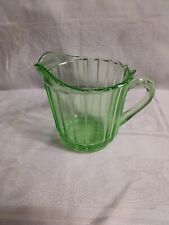 Vintage Ribbed Green Depression Glass Small Pitcher - Small Creamer