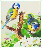 Archibald Thorburn Bluetit Apple Blossoms Bird Countd Cross Stitch Chart Pattern